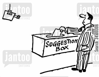 closed circuit television cartoon humor: CCTV - Suggestions Box