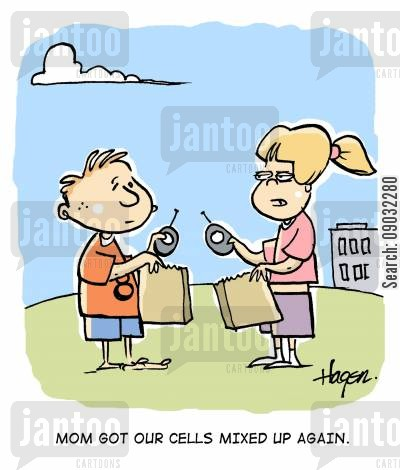 lunch bag cartoon humor: 'Mom got our cells mixed up again.'