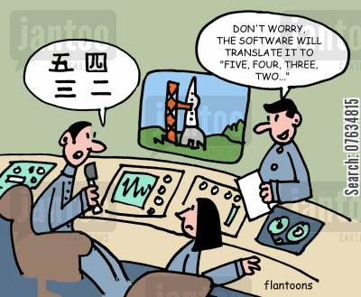 space launch cartoon humor: Don't worry, the software will translate it to 'five, four, three, two . . .