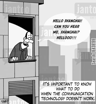business world cartoon humor: It's important to know what to do when the communication technology doesn't work.