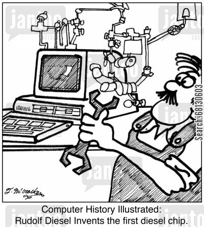 rudolf diesel cartoon humor: Computer History Illustrated: Rudolf Diesel Invents the first diesel chip.