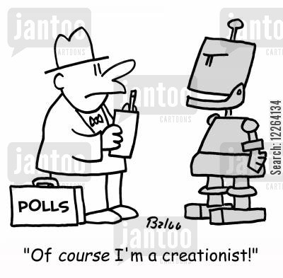 creationist cartoon humor: POLLS, 'Of COURSE I'm a creationist!'