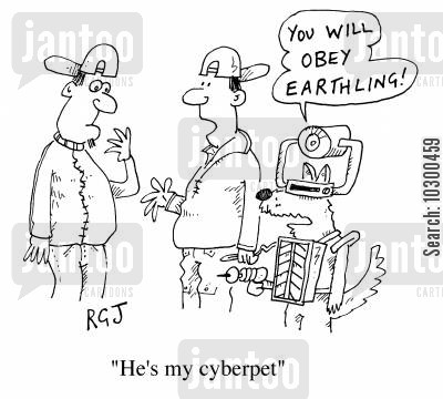 cyber cartoon humor: He's my cyberpet.