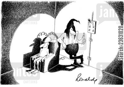 electric chair cartoon humor: Power cut on death row.