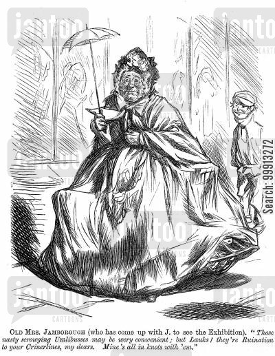 1862 cartoon humor: Lady visiting the 1862 International Exhibition fands that the omnibuses ruin her crinolines