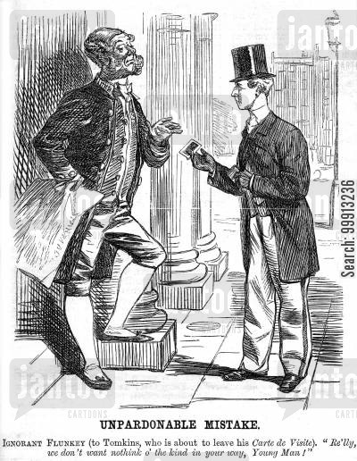 manservant cartoon humor: Guest leaving his carte de visite with a servant