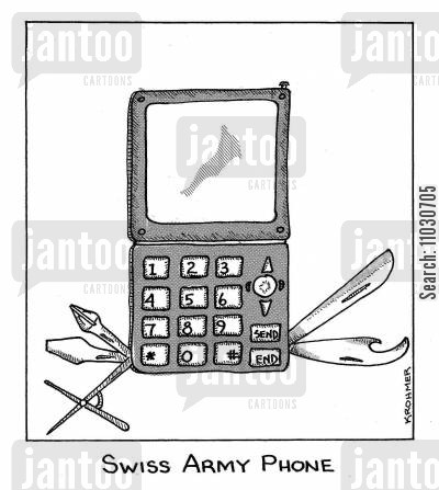 smartphones cartoon humor: Swiss Army Phone