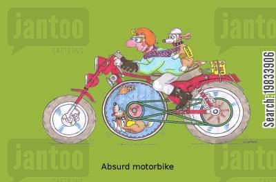 renewable energy cartoon humor: Absurd motorbike