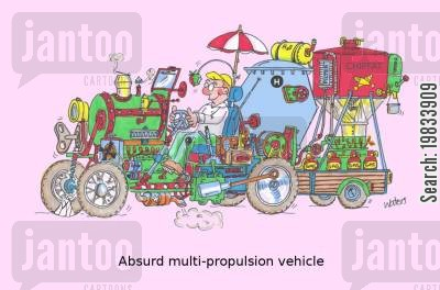 renewable energy cartoon humor: Absurd multi-propulsion vehicle