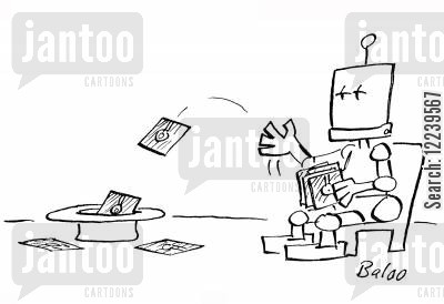 compact disk cartoon humor: Robot Tosses Computer Disks Into A Hat Like Playing Cards.
