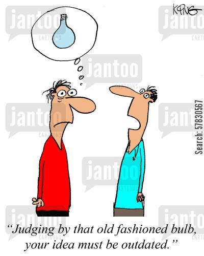 bright ideas cartoon humor: 'Judging by that old fashioned light bulb, your idea must be outdated.'