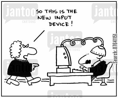 input devices cartoon humor: 'Is this the new input device?'