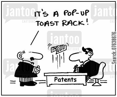 patent's offices cartoon humor: 'It's pop-up toast rack.'