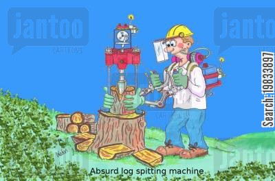 loggers cartoon humor: Absurd log splitting machine
