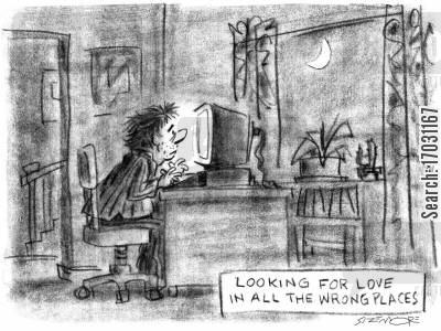 lonliness cartoon humor: Looking For Love.