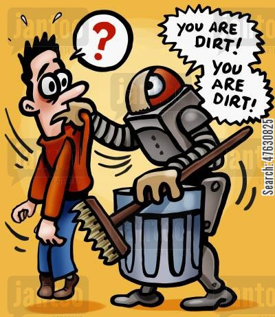 artificial cartoon humor: Mad cleaning robot.