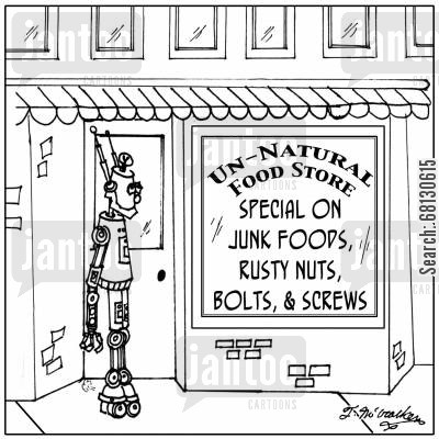 special diests cartoon humor: Unnatural Food-nuts and bolts, sale on junk foods, rusty nuts, bolts, and screws.