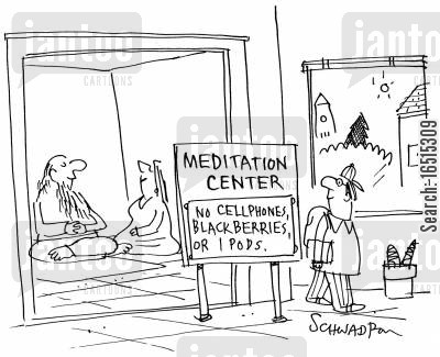 meditation center cartoon humor: Meditation Center.