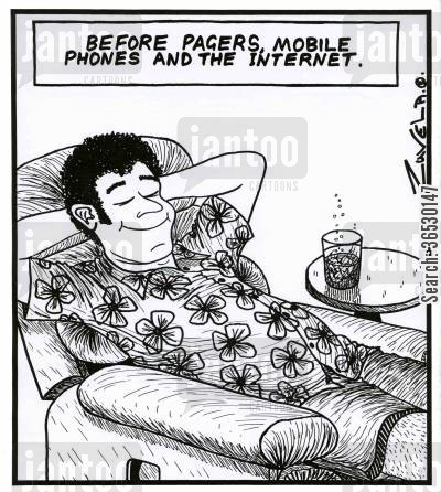 contact cartoon humor: Before pagers,mobile phones and the internet.