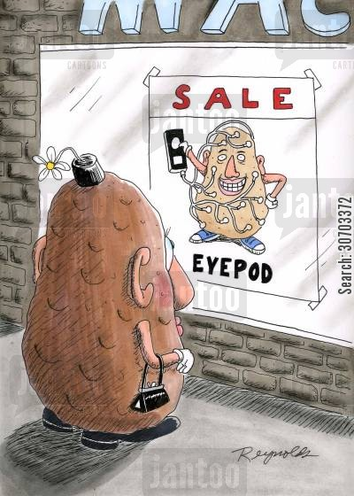 music player cartoon humor: Sale - Eyepod.