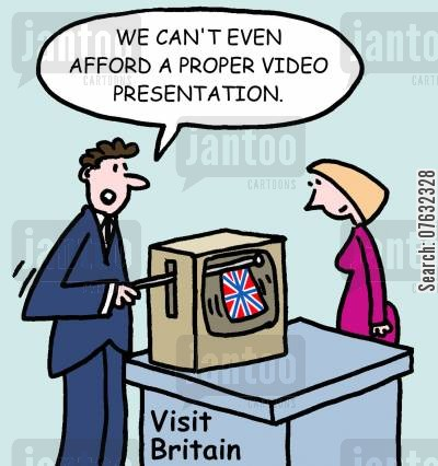 powerpoint cartoon humor: We can't even afford a proper video presentation.