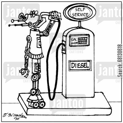 drinking gas cartoon humor: A robot putting gas straight into his head at a 'Self Service' station.