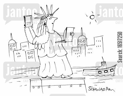 portable music cartoon humor: Statue of Liberty with laptop and PDA.