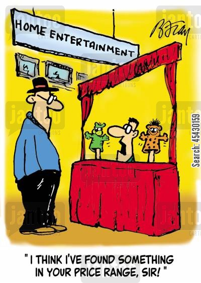 puppet shows cartoon humor: 'I think I've found something in your price range, sir!'