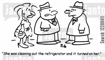 domestic appliances cartoon humor: 'She was cleaning out the refrigerator and it turned on her'