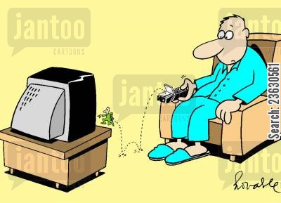 pixie cartoon humor: Remote control with a small man inside.