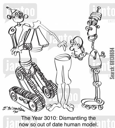 human body cartoon humor: The Year 3010: Dismantling the now so out of date human model.