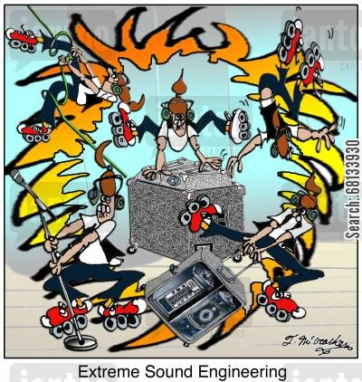 roller-bladers cartoon humor: Extreme Sound Engineering