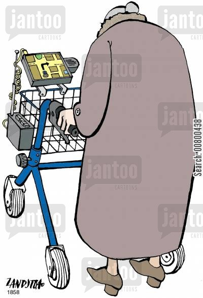 satellite navigation systems cartoon humor: Zimmer frame with satellite navigation system.