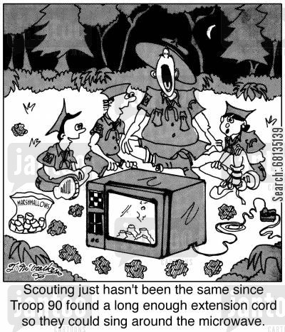 singing around the campfire cartoon humor: Scouting just hasn't been the same since Troop 90 found a long enough extension cord so they could sing around the microwave.
