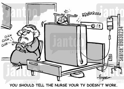 adjustable beds cartoon humor: 'You should tell the nurse your TV doesn't work.'
