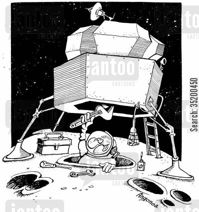 crater cartoon humor: Spaceman uses crater to sit in to work on the underneath of ship