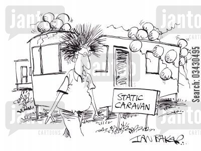 static hair cartoon humor: Static caravan.