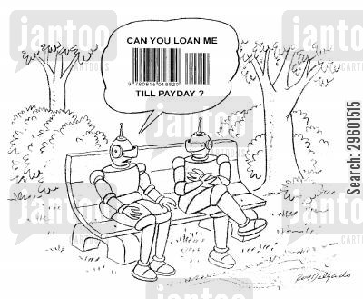 lending cartoon humor: Robot asking for money in bar code language.