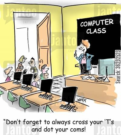 dotcoms cartoon humor: Remember...always cross your Ts and dot your coms.
