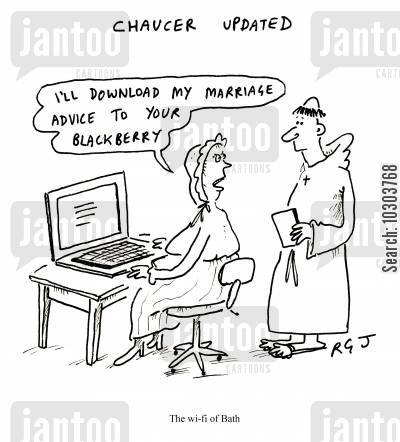 chaucer cartoon humor: The Wi-Fi of Bath.