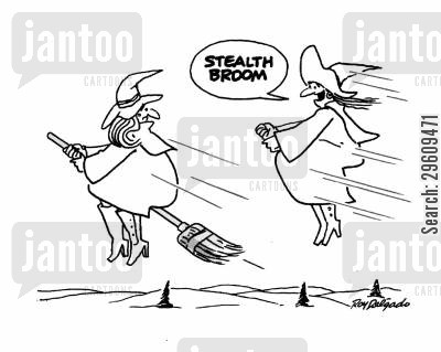 broom sticks cartoon humor: 'Stealth broom.'
