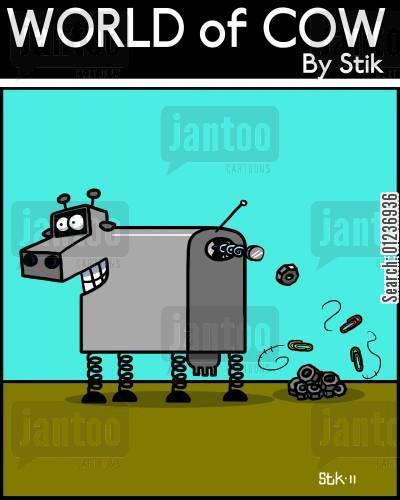 metal animal cartoon humor: ROBO COW