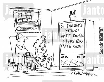 tv news anchors cartoon humor: 'On tonight's news: Katie Couric interviews Katie Couric.'