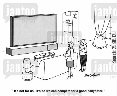 competes cartoon humor: 'It's not for us. It's so we can complete for a good babysitter.'