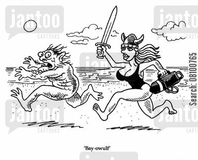 baywatch cartoon humor: 'Bay-owulf.'