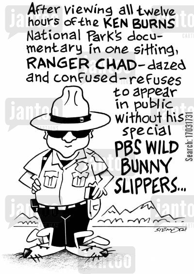 national monuments cartoon humor: PBS Wild Bunny Slippers.