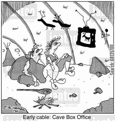 cable television cartoon humor: Early cable: Cave Box Office.