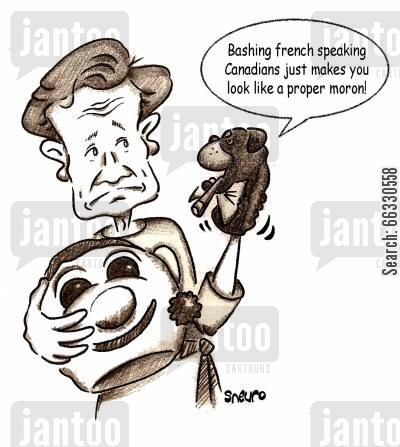 politically correct cartoon humor: Bashing french speaking Canadians just makes you look like a proper moron.