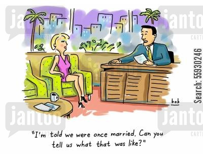 actress cartoon humor: I'm told we were once married. Can you tell us what that was like?