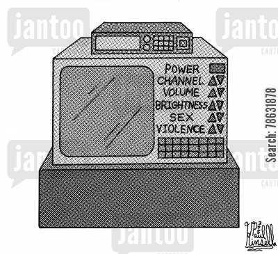 censors cartoon humor: Power, Channel, Volume, Brightness, Sex and Violence Controls,